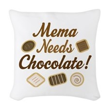 Mema Chocolate Woven Throw Pillow