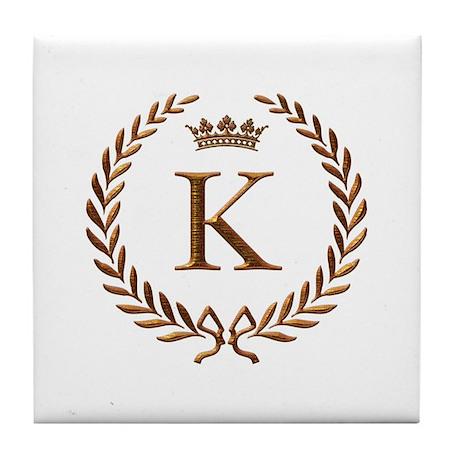 napoleon_initial_letter_k_monogram_tile_coaster