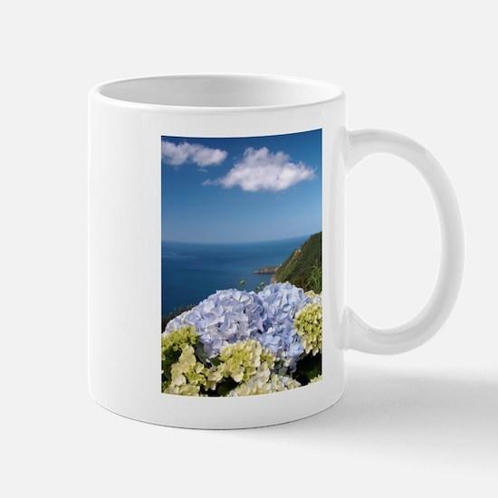 Hydrangeas on blue Mugs
