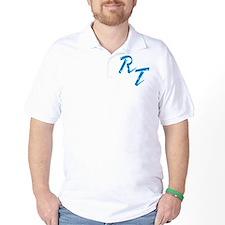RT, blue T-Shirt