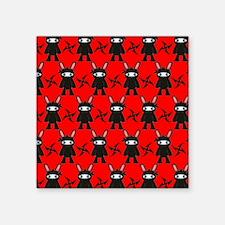 "Red and Black Ninja Bunny P Square Sticker 3"" x 3"""