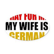 Pray Wife German Oval Car Magnet