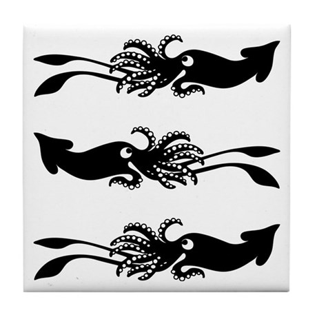3 Black Squids - Tile Coaster