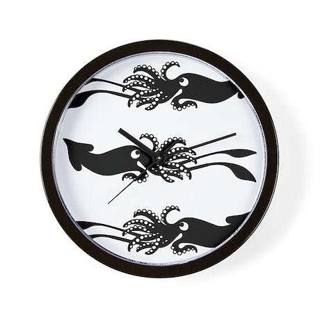 3 Black Squids - Wall Clock