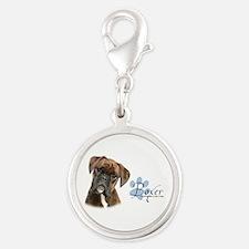 Boxer Puppy Silver Round Charm