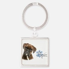 Boxer Puppy Square Keychain