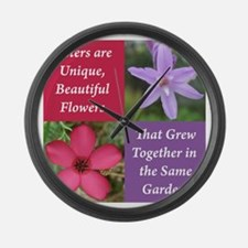 Sisters from the Same Garden Desi Large Wall Clock