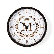 Napoleon initial letter M monogram Wall Clock