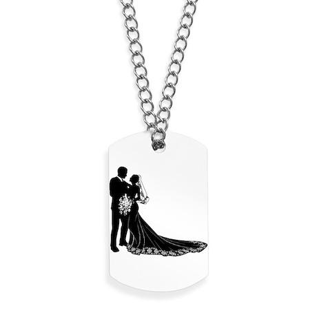 Bride Groom Silhouette Dog Tags