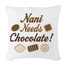 Nani Chocolate Woven Throw Pillow