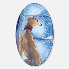 Greyhound watching snow fall Sticker (Oval)