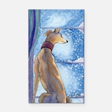 Greyhound watching snow fall Rectangle Car Magnet