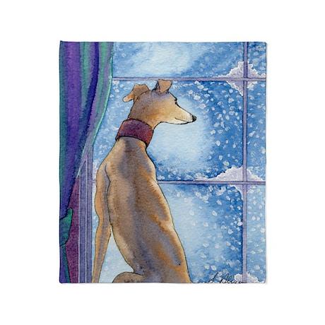 Greyhound watching snow fall Throw Blanket