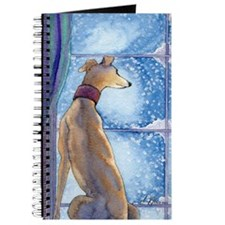 Greyhound watching snow fall Journal