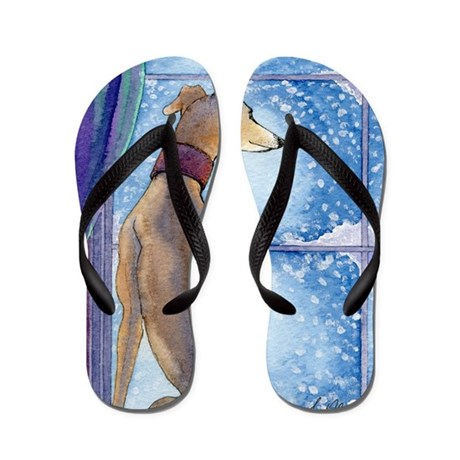 greyhound watching snow fall flip flops by admin cp10593568. Black Bedroom Furniture Sets. Home Design Ideas