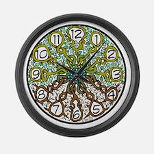 tree of life clock 2 Large Wall Clock