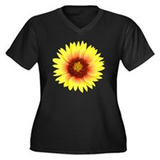 Yellow Daisy Women's Plus Size Dark V-Neck T-Shirt