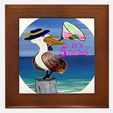 Its 5 OClock Martini Pelican Framed Tile