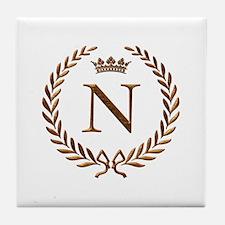 Napoleon initial letter N monogram Tile Coaster