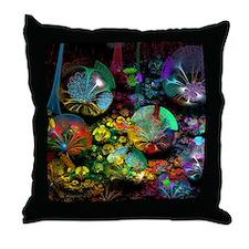 Fractal 3D Bubble Garden Throw Pillow