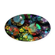 Fractal 3D Bubble Garden Oval Car Magnet