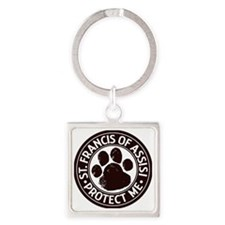 St. Francis Protect Me Square Keychain