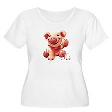 Cute Pink Pig Plus Size Scoop Neck T-Shirt