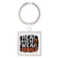 D Leukemia Real Men Wear Orange Square Keychain