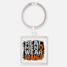 D Leukemia Real Men Wear Orange Square Keychain