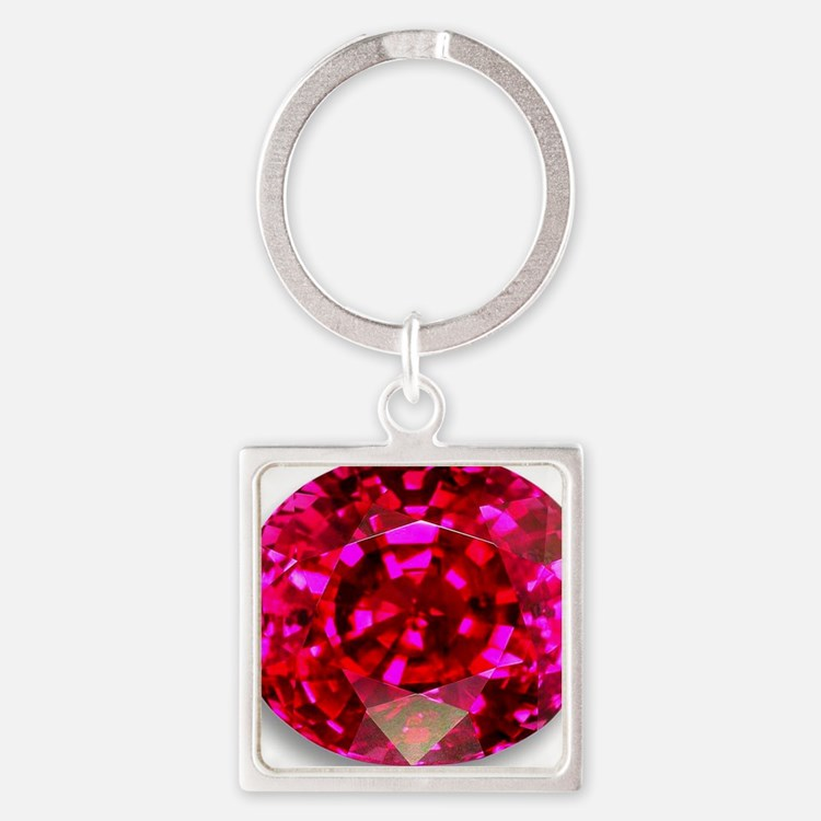 Ruby Square Keychain