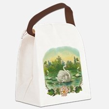 Swimming Swan Canvas Lunch Bag