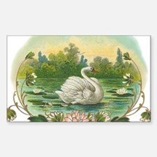 Swimming Swan Sticker (Rectangle)
