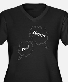 Marco Polo T Women's Plus Size Dark V-Neck T-Shirt