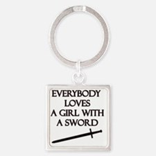 Girl With a Sword Square Keychain