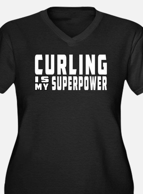 Curling Is My Superpower Women's Plus Size V-Neck