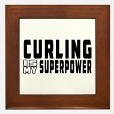 Curling Is My Superpower Framed Tile