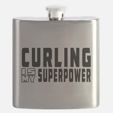 Curling Is My Superpower Flask
