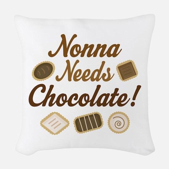 Nonna Chocolate Woven Throw Pillow