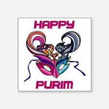 "Purim Mask Square Sticker 3"" x 3"""