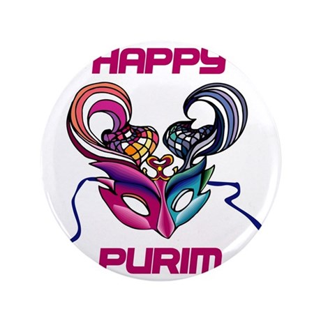 "Purim Mask 3.5"" Button"