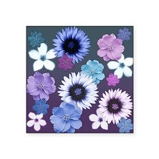 "Pink Blue and Purple Flower Square Sticker 3"" x 3"""