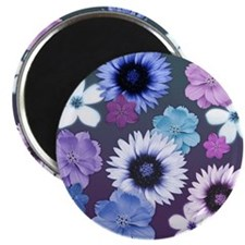 Pink Blue and Purple Flowers Magnet
