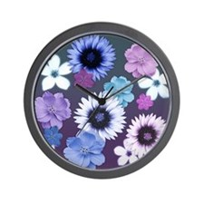 Pink Blue and Purple Flowers Wall Clock