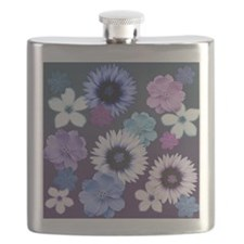 Pink Blue and Purple Flowers Flask