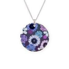 Pink Blue and Purple Flowers Necklace