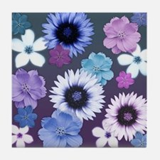 Pink Blue and Purple Flowers Tile Coaster