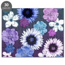 Pink Blue and Purple Flowers Puzzle
