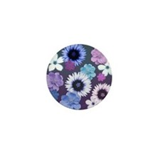 Pink Blue and Purple Flowers Mini Button