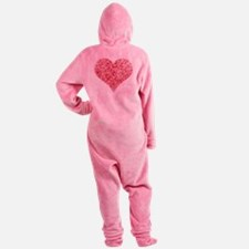 Red heart with fingerprint pattern Footed Pajamas