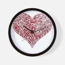 Red heart with fingerprint pattern Wall Clock